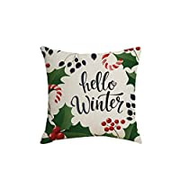 Vosarea Christmas Cushion Cover Linen Printed Decorative Pillowcase for Sofa Seat ((3) SYM36)