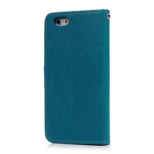 Badalink Hülle für iPhone 6 / iPhone 6S Rosa Gold Baum Handyhülle Leder PU Case Magnet Flip Case Schutzhülle Kartensteckplätzen und Ständer Handytasche mit Eingabestifte und Staubschutz Stecker Blau