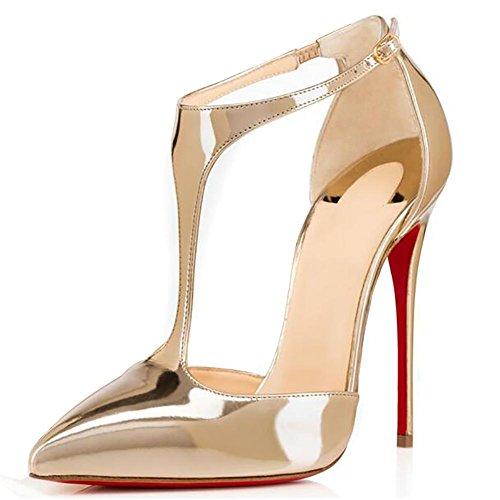 SYYAN Damen Lackleder Spitz T Tape Handgemacht Pumpe Kleid Schuhe GOLD Gold