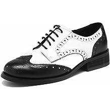 SimpleC Las mujeres perforaron Wingtip Leather Oxfords, Vintage Brogue cómodo Office Low ...