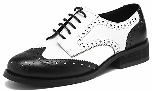 Brogue Bequem Business&Schnürhalbschuhe Leder Klassiker Perforierte Wingtip OxfordsWeiß-schwarz38.5 (Leder Damen Wohnungen Schwarz Schuhe)