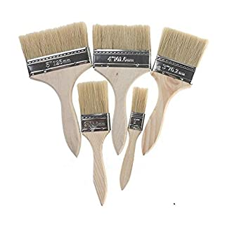 5x sortiert Größe Pinsel Holz Pinsel Kreide Farbe Wachs Pinsel Paint Fleck Lack-Set 2,5cm zu 12,7cm für Malen mit Natur Borsten