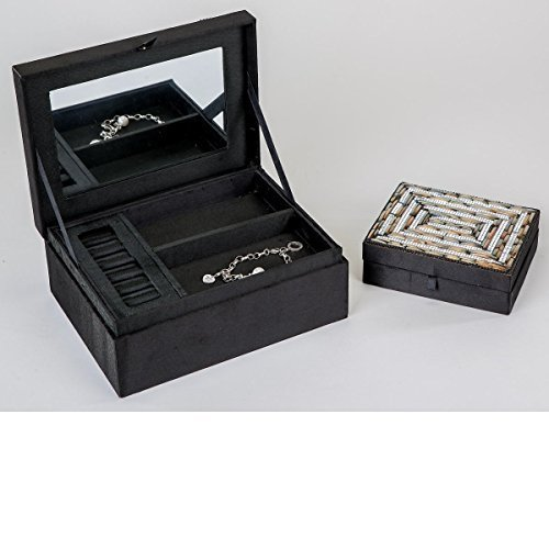 Schmuck-bora-boîte rectangulaire avec perles de verre miroir mosaïque