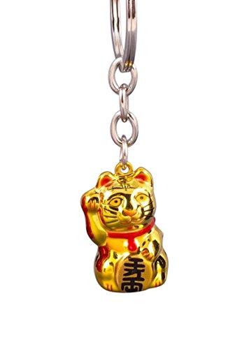 Pamai Pai® Schlüsselanhänger Gold Glückskatze Maneki Neko Winkekatze Katze Glück Anhänger