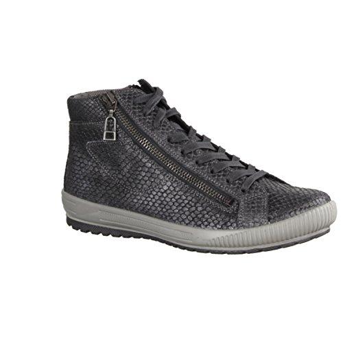 Legero Damen Sneaker Effektleder 7-00825-02 schwarz, Gr. 38-40, Wechselfußbett Schwarz (Schwarz/Grau)