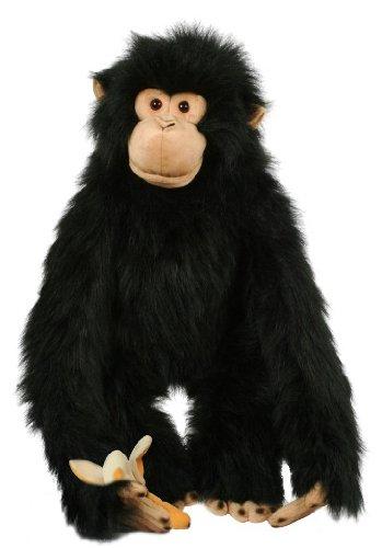Preisvergleich Produktbild alles-meine.de GmbH XXL - Handpuppe -  Affe Schimpanse / Orang UTAN  - mit Banane Handspielpuppe Kasperlfigur Kasperle Figur - Schwarz - für Kinder & Erwachsene