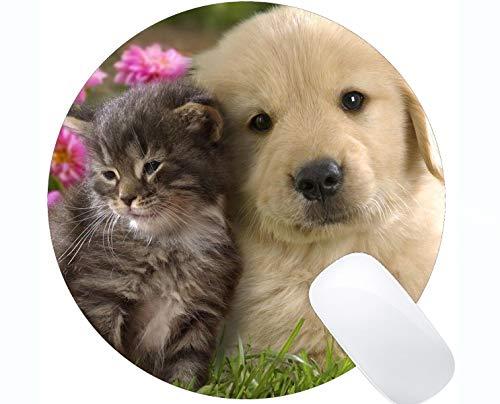 Runde Mausunterlage mit genähtem Rand, niedliche Welpen-Hundekatze des Kätzchens Rutschfeste Gummibasis Mousepad