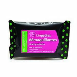 Lingettes Pocket démaquillantes bio nu moments - peaux sensibles - LOT de 10 paquets de 15 lingettes : 1,90 € TTC / unité