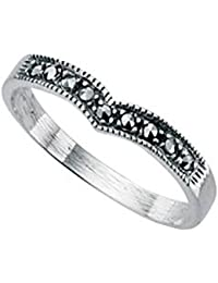 WISHBONE RING sterling silver marcasite