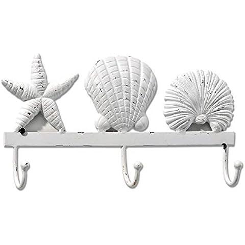 Envejecido Tropical blanco conchas gancho de pared perchero de pared para baño Home Décor 33,02