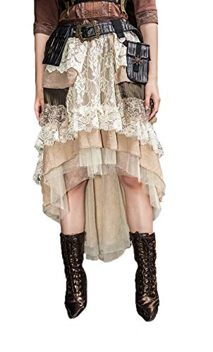 DEVIL SHACKLES Frauen Steampunk Long Tiered Lace Skirt Gothic Multi-Layer Beige langes Kleid -