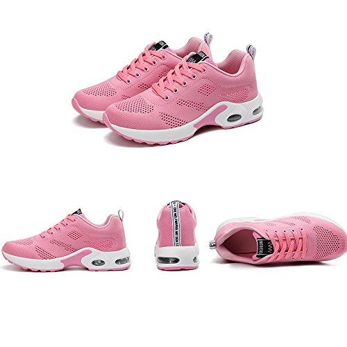 Scarpe Da Corsa Da Donna Air Mesh Scarpe Da Ginnastica Stringate Sneaker Rosso Rosa Nero Viola 35-40 Rosa