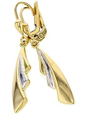 Echt Gold Damen Ohrringe Pendel in 585 Gold in Gelbgold & Weißgold 14Karat 3610
