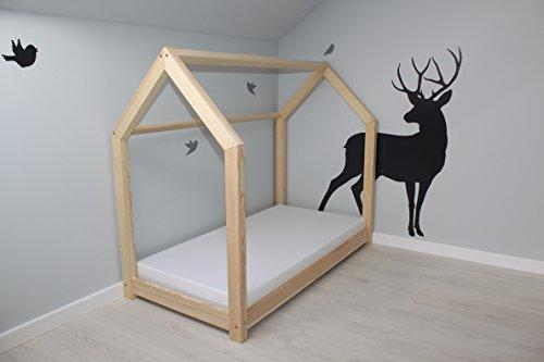 Best For Kids Kinderbett Kinderhaus Jugendbett Natur Haus Holz Bett in 3 Größen mit oder ohne 10 cm Matratze (90x200 cm mit Matratze)