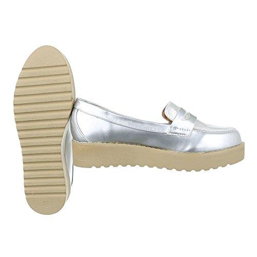 Slipper Damen Schuhe Low-Top Moderne Ital-Design Halbschuhe Silber