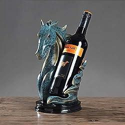 LNTE Weinregal Flaschenregal Für,Europäische Moderne Pferdekopf Weinregal Hause Wohnzimmer Büro Dekoration Modular Weinregal Für