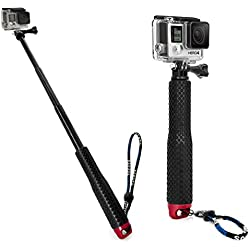 MyGadget Selfie Stick Waterproof x Action Camera - Bastone Telescopico Estensibile - Hand Grip per p.e. GoPro Hero 6 5 4 3+ Xiaomi Yi - Rosso