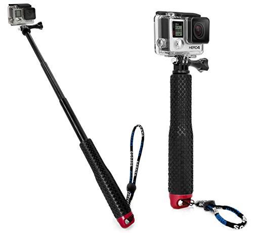 MyGadget Action Kamera Teleskopstange Selfie Stick (wasserdicht) - Zubehör Stange mit Handgriff Rutschfest für GoPro Hero 6 5 4 3+ 3, Xiaomi Yi - Rot
