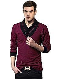 EYEBOGLER V-Neck Shawl Collar Men's Solid T-Shirt