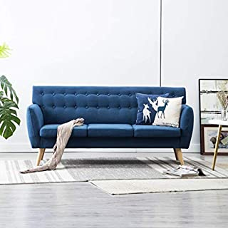 Festnight 3-Sitzer-Sofa   3er Stoff Couch   Wohnzimmer Stoffsofa   Polstersofa   Loungesofa   Blau Stoffbezug mit MDF-Rahmen 172x70x82 cm