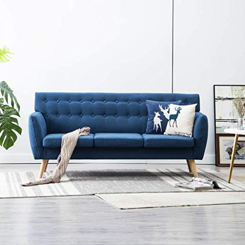 Festnight 3-Sitzer-Sofa | 3er Stoff Couch | Wohnzimmer Stoffsofa | Polstersofa | Loungesofa | Blau...