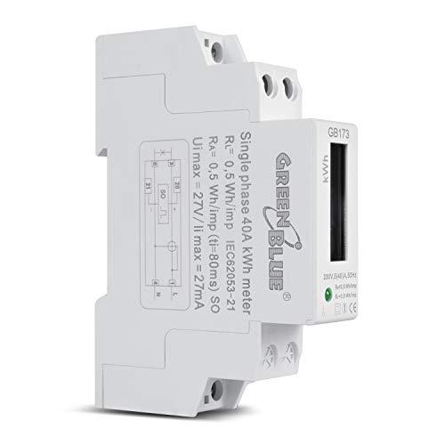 Green Blue GB173 Stromzähler Wattmeter für DIN Hutschiene LCD Anzeige Energieverbrauch Messgerät Wechselstromzähler