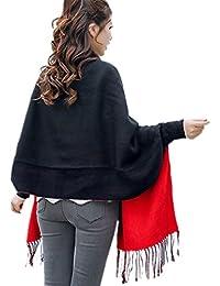 2b6a798a6d7d Aeneontrue Femmes Automne Hiver Cape Blanket Manteau Echarpe Cardigan  Epaisse Ponchos de Femmes Foulard Châle Etole