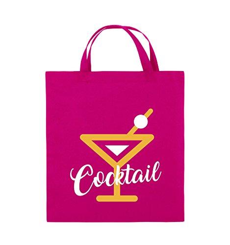 Comedy Bags - Cocktail - GLAS - Jutebeutel - kurze Henkel - 38x42cm - Farbe: Schwarz / Weiss-Neongrün Pink / Gelb-Weiss