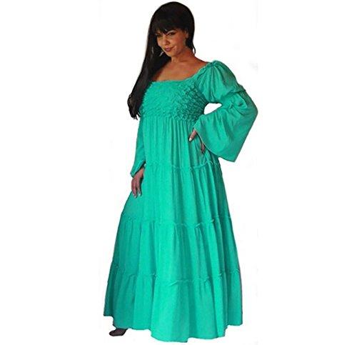 Lotustraders -  Vestito  - stile impero - Basic - Maniche lunghe  - Donna Light Green