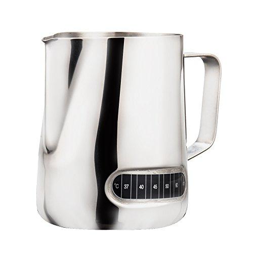 600ML Milchkanne Edelstahl Milchkännchen Milchschaumkännchen Milk Pitcher mit Thermometer Edelstahl Milchkanne für Milchaufschäumer Cappuccino Milchschaum Cafe Art Aufschäumkännchen