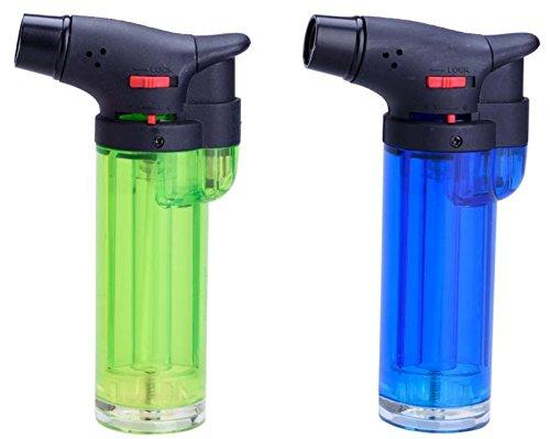 JET FLAME \'CREME BRULEE\' , Küchenbrenner Gas Flambierer, Sturm-Feuerzeug (2x Farbe wird zufällig ausgewählt) + 1x ( Konsumany® Stab- Sturmfeuerzeug 12,5 cm Lang )
