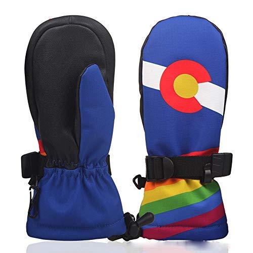 WYYUE Kinder-Skihandschuhe Skihandschuhe Kinderhandwärmer Fahrradhandschuhe Winterhandschuhe für Jungen und Mädchen,Blue,S -