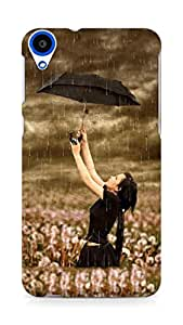 Amez designer printed 3d premium high quality back case cover for HTC Desire 820 (Beautiful Girl in Rain)