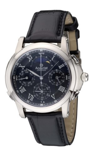 Accurist Men's Quartz Watch with Black Dial Chronograph Display and Black Leather Strap Gmt322B
