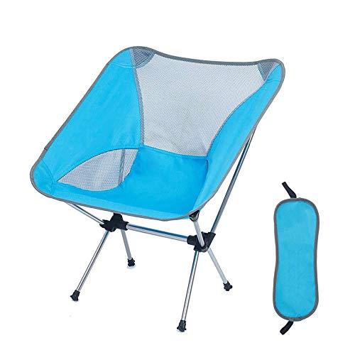 ZXT En Plein Air Portable Chaise Pliante Siège Pliant Tabouret Pour La Pêche Camping Pique-Nique Jardin BBQ Plage Vacances Randonnée 7075 En Aluminium (Couleur : Bleu)