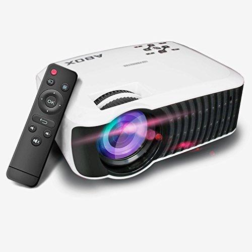 Beamer, Abox LED Mini Video Projektor T22 1080P Full HD LCD Heimkino Videoprojektor mit 2000 Lumen 2000:1 Kontrast Unterstützt 1080P / USB / VGA / SD / HDMI / AV für Xbox / iPhone / Smartphone / PC