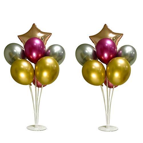 Topeedy 2Set Ballons tänder-Set mit 12 Metallic-Luftballons und 2 Sternfolienballons, 2er-Set Ballonhalter mit Luftballons für die Geburtstags-Hochzeitsdekoration