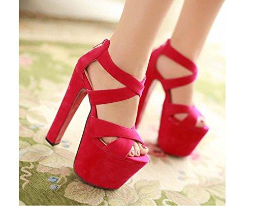 NobS Tacchi Donne Alta Heles Robusti Open Toe Sandals Impermeabili Scarpe Cross Platform Suede Pink