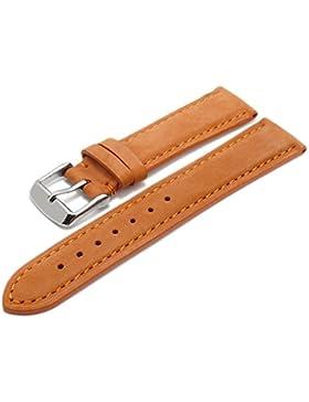 Meyhofer Uhrenarmband Memphis 18mm orange Leder velourartig abgenäht MyHeklb225/18mm/orange/TiT