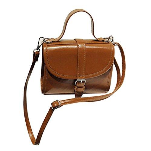 Longra Solido colore moda donne pu pelle catena crossbody borsa tracolla borsa del telefono borsa Messenger Bag Marrone