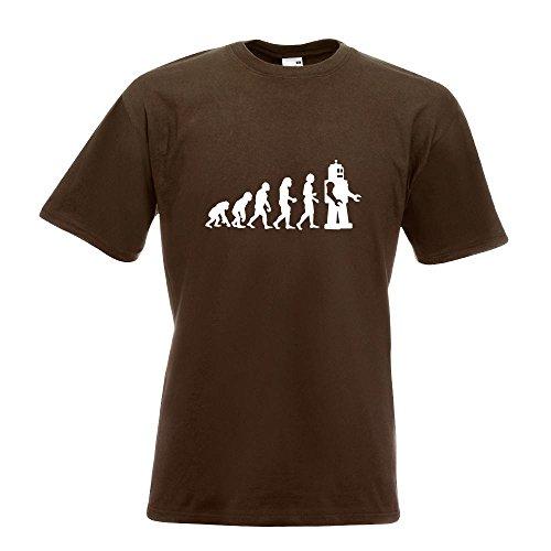 KIWISTAR - Evolution Roboter T-Shirt in 15 verschiedenen Farben - Herren Funshirt bedruckt Design Sprüche Spruch Motive Oberteil Baumwolle Print Größe S M L XL XXL Chocolate