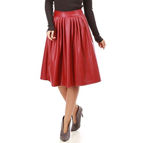La Modeuse - Jupe évasée mi-longue en simili cuir Rouge