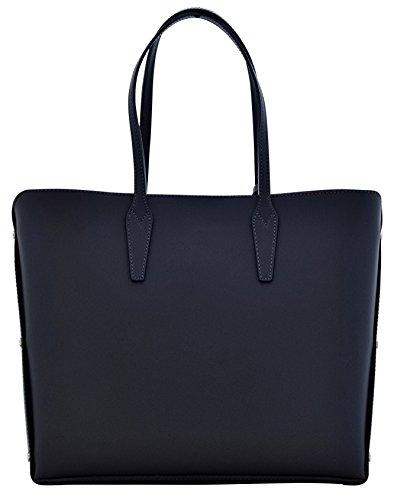 TAMARA Shopper Borse Donna Borse Tote Vera Pelle Made in Italy Lavorazione Artigianale Blu scuro