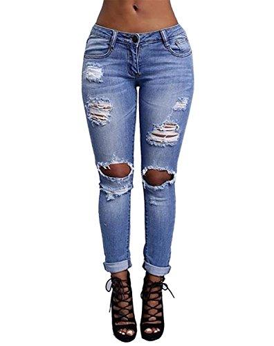 Burvogue Frauen-Denim Blue Stretch Jeans Skinny Distressed Hosen (MEHRWEG) Distressed Blue Jeans