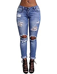 62327a9c8a151 Burvogue Women s Stretch Denim Ripped Butt Lifting Jeans