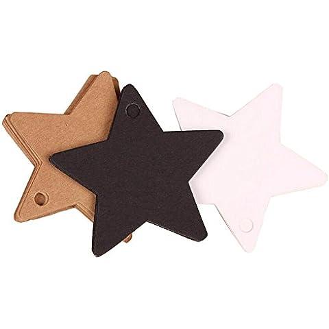 100piezas de papel Kraft etiqueta de papel Forma de Estrella Boda Navidad Halloween fiesta tarjeta de regalo etiquetas de equipaje etiquetas etiquetas de ropa, color