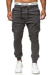 Code47 Herren Chino Jogg Jogger Jeans Slim Fit Cargo Stretch W29-W38 Anthrazit W34 L32