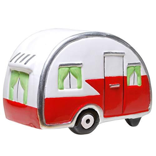 Topshop24you wunderchöne Spardose Wohnwagen Wohnanhänger Campingkasse Campingfahrzeug mit Gummipfropfen aus Keramik