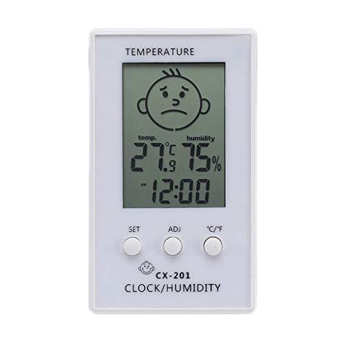 King Boutiques Weather Clock Digital LCD Thermometer Hygrometer Baby Lächeln Weinen Gesicht Luftfeuchtigkeit Meter Wetterstation Tester Temperatur Uhr Haushaltsgegenstände (Color : White)