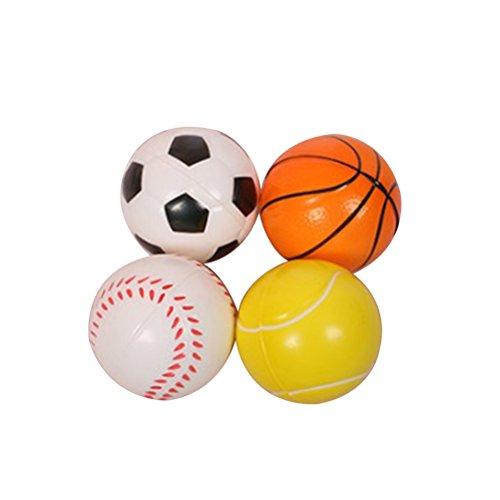 STOBOK weiche pu kleine sportbälle für Baby Kinder frühe pädagogische Spielzeug Finger Grip fähigkeit und Athletic fähigkeit entwicklung Spielzeug Set von 4 (fußball + Basketball + Baseball + Tennis)